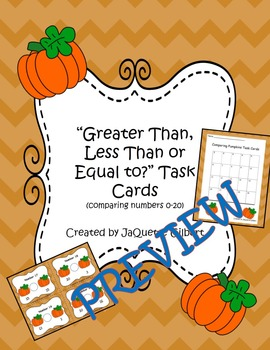 Greater Than, Less Than, or Equal to? Pumpkin Task Cards (numbers 0-20)