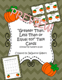 Greater Than, Less Than, or Equal to? Pumpkin Task Cards (
