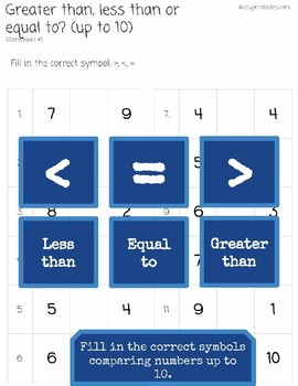 Greater Than, Less Than or Equal to? Up to 10