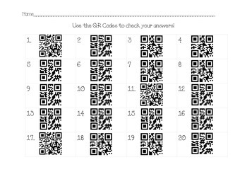 Greater Than & Less Than w/ QR Answer Sheet