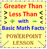Greater Than Less Than with Basic Math Facts (PowerPoint Lesson)