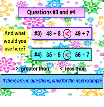Greater Than Less Than with Division Facts FREE PREVIEW (POWERPOINT Lesson)