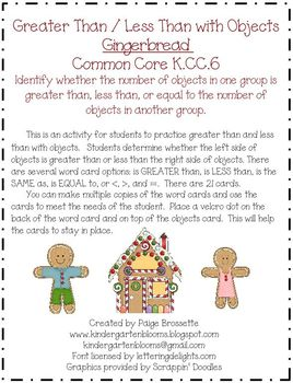 Greater Than / Less Than with Gingerbread K.CC.6