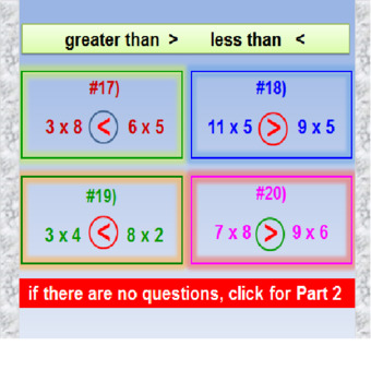 Greater Than Less Than with Multiplication Facts FREE PREVIEW PowerPoint Lesson