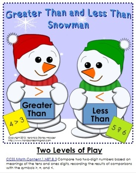 Winter Themed Greater Than and Less Than - Matching Game: