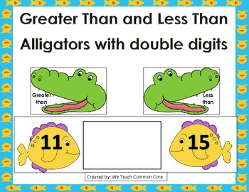 Greater Than or Less Than Double Digits Alligator Math Cen