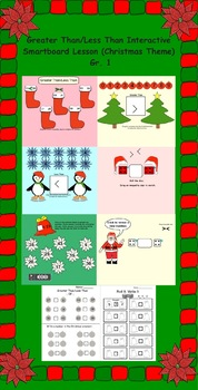 Greater Than/Less Than Interactive Smartboard Lesson (Christmas Theme) Gr. 1