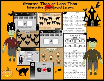 Greater Than/Less Than Interactive Smartboard Lesson (Halloween Theme) Gr. 1-2