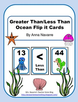 Greater Than/Less Than Ocean Flip it Cards