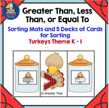 Greater Than, Less Thank or Equal To  Turkey Theme  Sorting Mats and Cards