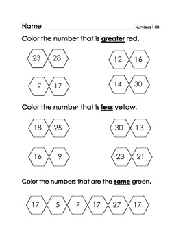Greater and Less Than with Numbers 1-30