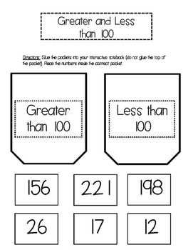 Greater and Less than 100 Interactive Notebook Pockets