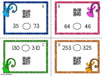 Greater or Less Geckos: {2nd gr CCSS Aligned} Comparing Numbers Activities