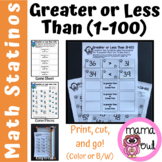Greater or Less Than (1-100) Math Stations (Kindergarten a