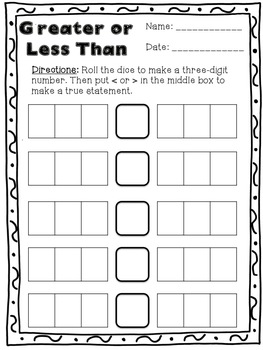 Greater or Less Than: A Place Value Activity