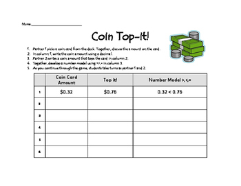 Greater or Less Than Coin Top It (Decimals)