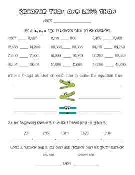 Greater Than Less Than Alligator Worksheet