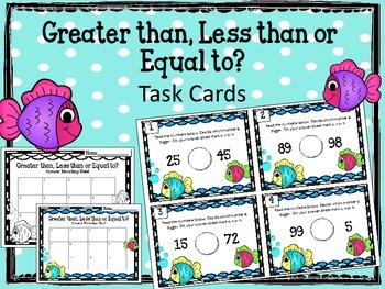 Greater than, Less than, Equal to TASK CARDS. Fish. Math Center