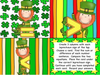 Greater than, Less than, Or Equal to - Leprechaun Math Tub