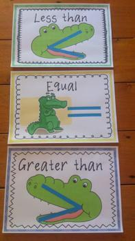 Greater than Less than Posters and Animal Number Cards 1-3