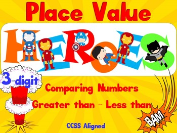 Greater than - Less than - SUPER HEROES! - 3-DIGIT - Smartboard - CCSS Aligned