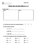 Basic Math Skills - Greater than Less than; < > = Worksheet