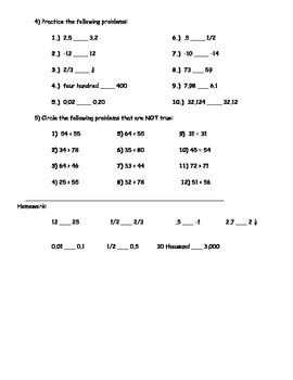 Basic Math Skills - Greater than Less than; < > = Worksheet