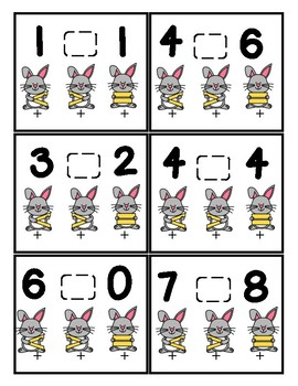 Greater than, Less than or Equal too Poke cards (bunny theme)
