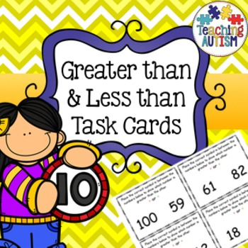 Greater than, Less than, task cards 0 - 100.