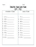 Greater than Less than worksheet FREEBIE