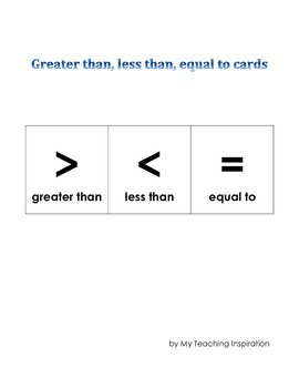 Greater than, less than, equal to cards