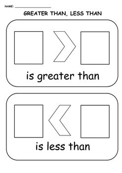 Greater than, less than worksheet