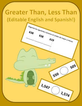 Greater than, less than worksheet (Editable, English, and Spanish)