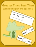 Greater than, less than worksheet (Editable, English, and