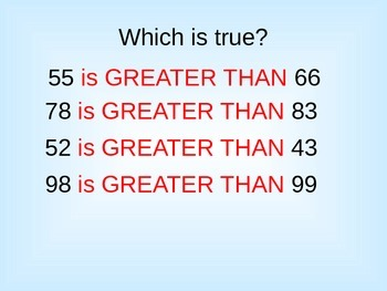 Greater than numbers for First grade