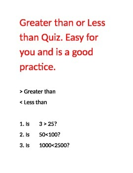 Greater than or Less than Quiz