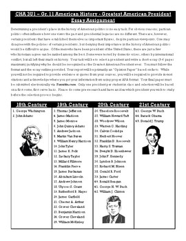 Greatest American President Essay Assignment