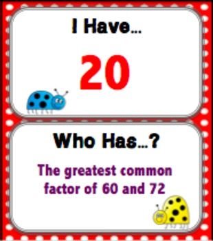 Greatest Common Factor Game (GCF I Has... Who Has?)