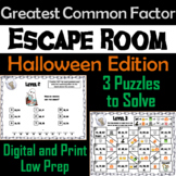 Greatest Common Factor Game: Escape Room Halloween Math Activity
