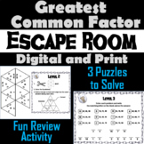 Greatest Common Factor Activity: Escape Room Math