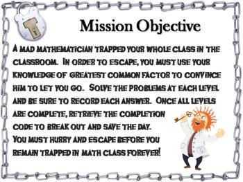 Greatest Common Factor Activity: Escape Room Math