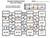 Greatest Common Factor Activity: New Year's Math Maze