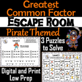 Greatest Common Factor Activity: Pirate Themed Escape Room Math Game (GCF)