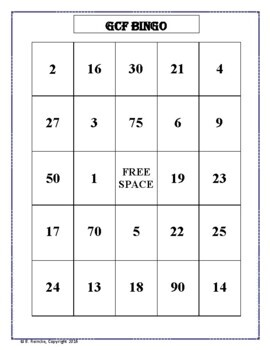 Greatest Common Factor Bingo (30 pre-made cards!)