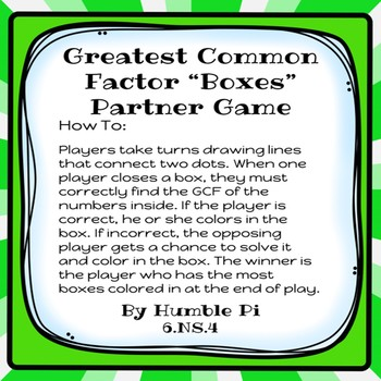 Greatest Common Factor Boxes Partner Game-6.NS.4