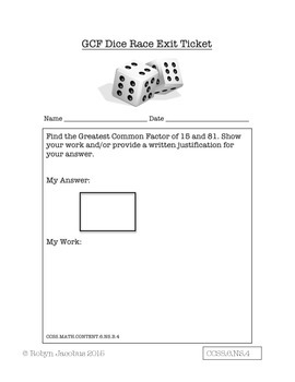 5th/6th/7th Grade Math- Greatest Common Factor Dice Game Common Core Aligned