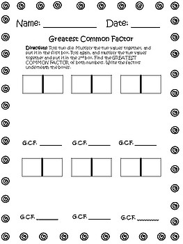 GCF and LCM {Dice Roll Activity and Assessment}