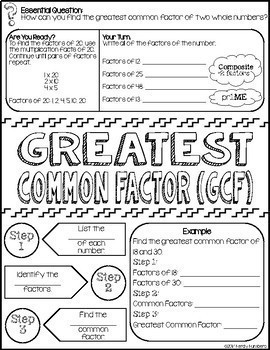 Greatest Common Factor Doodle Notes