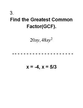 Greatest Common Factor, Factoring, & Zero Product Property Activity