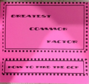 Greatest Common Factor Foldable